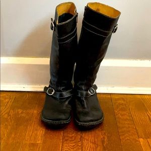 Born knee length black leather boots